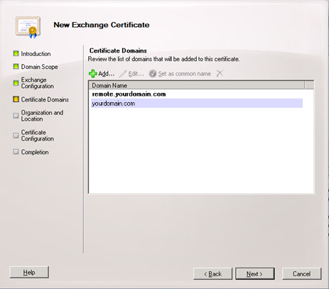 Certificate Domains